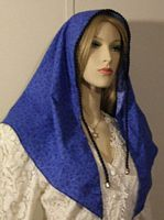 Blue Design Cotton Tiechel Scarf Headcovering