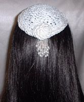 White Double Pearl Cording Trimmed Kippah
