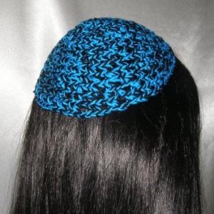 Turquoise Black Cotton Untrimmed Kippah