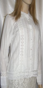 White Cotton Crochet Inlay Blouse