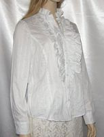White Cotton Ruffle Yoke Blouse