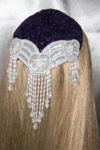 Purple Chenille Kippah Ivory Iridescent Beaded Applique