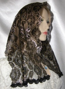 Black Gold Floral Lace Hair Wrap