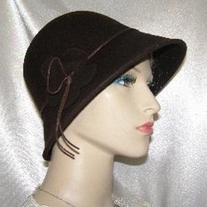 Dark Brown Felt Wool Flapper Style Hat
