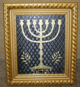 Gold 7 Branch Menorah Framed Art