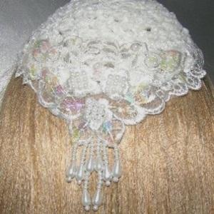 Ivory Chenille Ivory Pearl Sequine Venise Applique Kippah