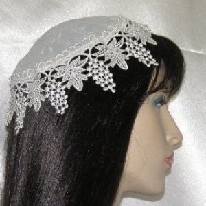 Ivory Embroidery Floral Silk Venise Buchari Style Kippah