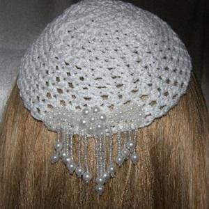 White Kippah Small White Cascading Pearl Beaded Applique