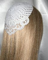 White Floral Venise Applique Trimmed Kippah