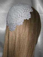 White Flower Venise Applique Trimmed Kippah
