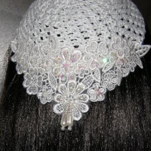 White Kippah Iridescent Sequin Pearl Beaded Headcoverings