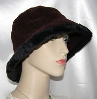 Brown Cotton Corduroy Black Fur Brim Hat