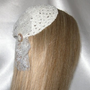 Ivory Chenille Lace Millinary Style Kippah