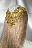 White Kippah Gold Metallic Venise Applique