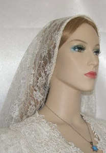 Ivory Pearl Corded Venise Trimmed Veil