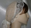 Beige Poly Designed Snood Lace Ties