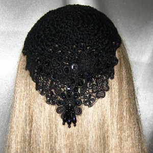 Black Crochet Kippah Black Pearl Applique