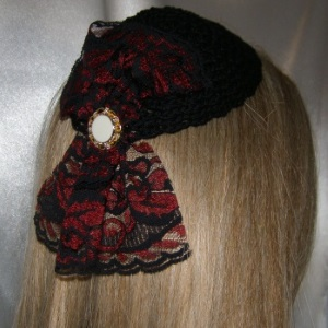 Black Kippah Red Black Milinary Style Lace Applique