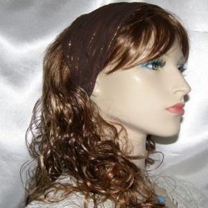 Brown Gold Stripe Voile Headband