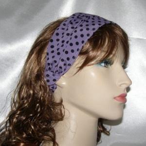 Purple Black Polka Dot Headband