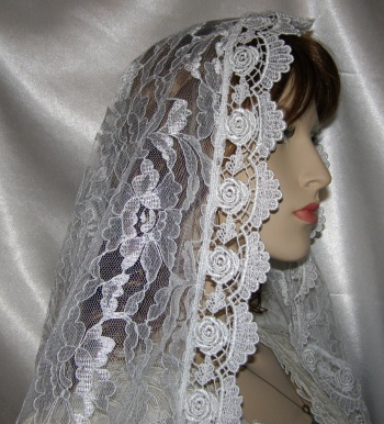 Large Ivory Floral Lace Bridal Veil Mantilla Oval Cut w pretty ivory rose