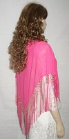 Bright Pink Silk Fringed Shawl