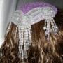 Lavender Chenille Ivory Sequin Bead Applique Kippah