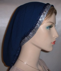 Navy Peach Skin Snood Tichel Head Covering Jacquard Band Trim