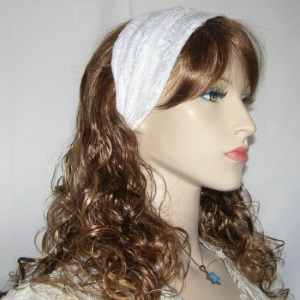 White Plush Velvet Wide Headband