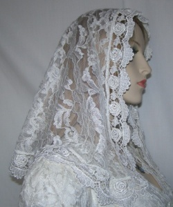 Extra Small Ivory Floral Lace Mantilla Veil