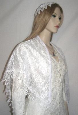 White Lace Venise Trimmed Shabbat Shawl