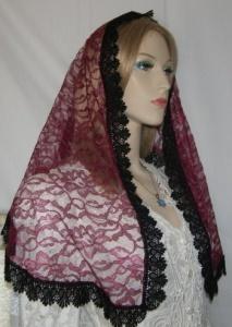 Wine Floral Lace Hair Wrap Black Venise Trim