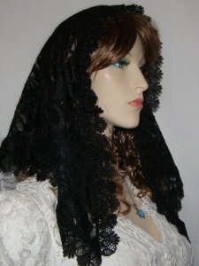 Black Mantilla Fan Design Trim