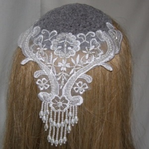 Gray Chenille Kippah Large White Pearl Applique