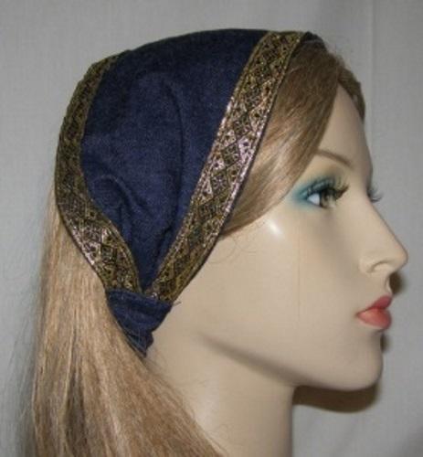 Blue Denim Jacquard Ribbon Trimmed Headband