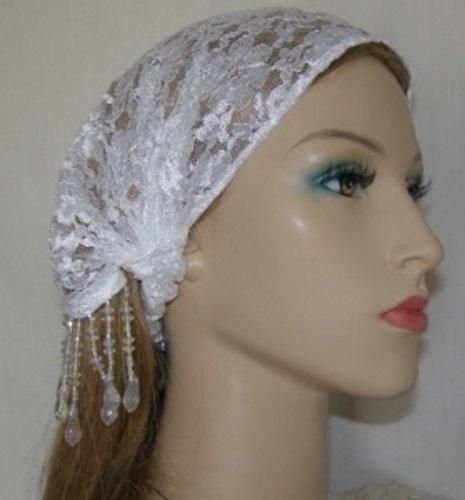 White Lace Beaded Headband