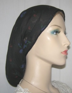 Black Cotton Floral Snood