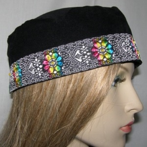 Black Suede Kippah Multi Design Jacquard Band Trim