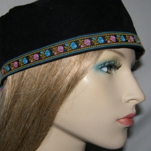 Black Suede Kippah Blue Pink Floral Design Jacquard Band Trim