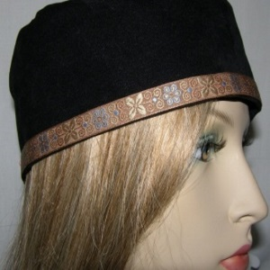 Black Suede Wide Brim Buchari Kippah with Brown Floral Jacquard Trim