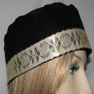 Black Suede Kippah Gold Metallic Design Band Trim