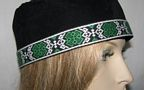 Black Suede Kippah Green Black White Design Band Trims