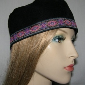 Black Suede Kippah Pink Blue Design Band Trim