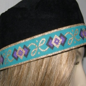 Black Suede Wide Brim Buchari Kippah with Turquoise Gold Jacquard Trim
