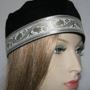 Black Suede Wide Brim Buchari Kippah with Gold White Design Jacquard Trim
