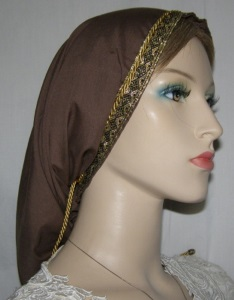 Brown Batiste Snood Gold Jacquard Ribbon Band