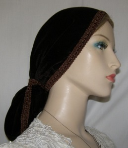 Brown Velvet Snood with Brown Design Band Ties