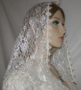 Ivory Lace Ivory Trim Veil