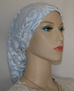 Ivory Lace Lined Snood Elastic Band