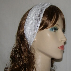 White Floral Lace Headband